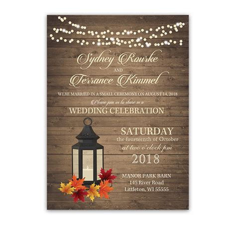 wedding announcements and reception invitations rustic fall leaves lantern wedding reception invitation