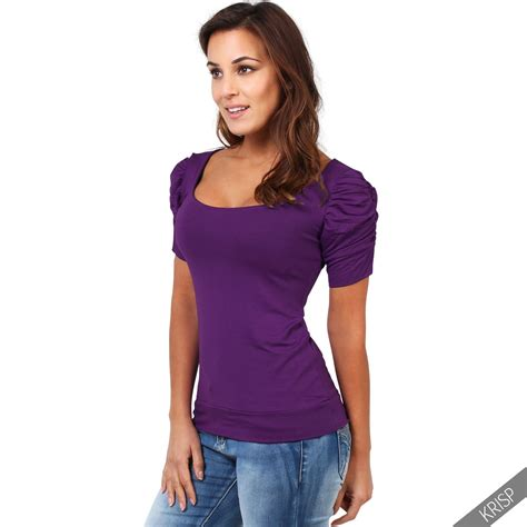 Simple Tees womens simple ruched sleeve stretch jersey t shirt top