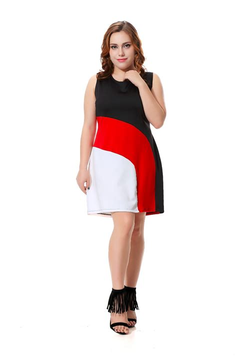 plus size casual dress sleeveless midi dress black with white and patchwork 3xl