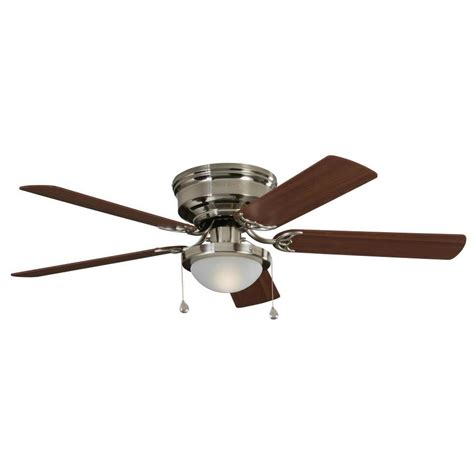 Indoor Ceiling Fan With Light Shop Harbor Armitage 52 In Brushed Nickel Indoor Flush Mount Ceiling Fan With Light Kit