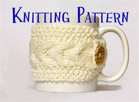 how to knit a mug cosy instant pdf knitting pattern cabled mug cozy