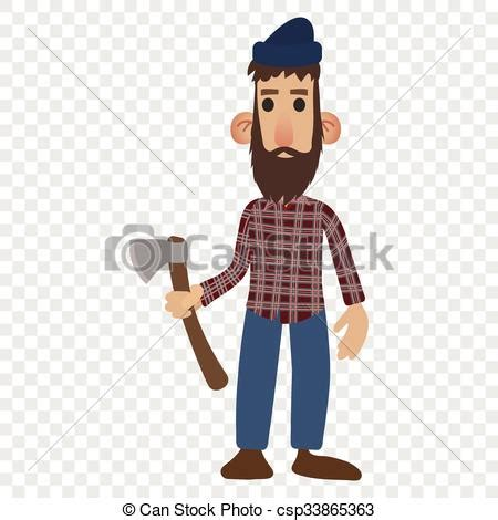 Clip Art Vector Of Lumberjack Cartoon Icon Isolated On