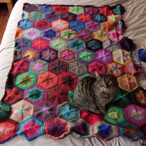 Hexagon Patchwork Blanket - noro kureyon knitted hexagon blanket bedspread knit