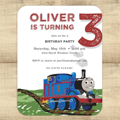 thomas the train birthday invitation pixie