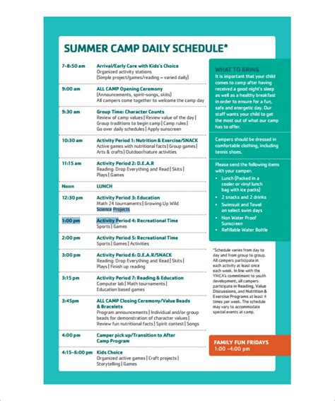 Summer C Schedule Template summer c schedule template 28 images summer weekly