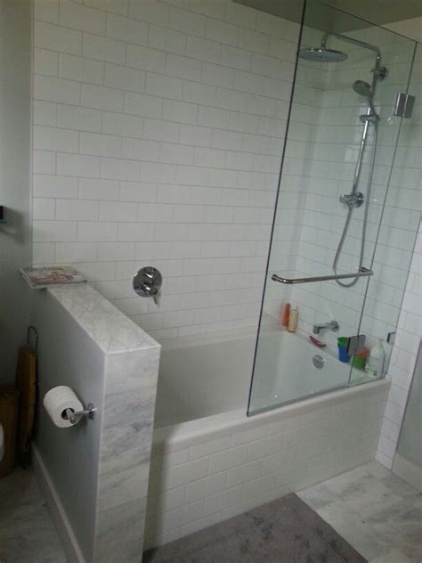 shower tub combo  glass wall bathroom pinterest
