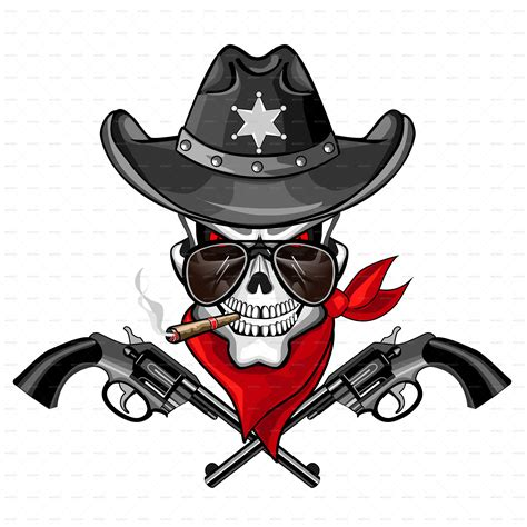 Sheriff Search Sheriff Skull With Pistols And A Cigar By Ashmarka Graphicriver