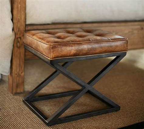 Leather X Base Stool by Kirkham Tufted Leather X Base Stool Pottery Barn