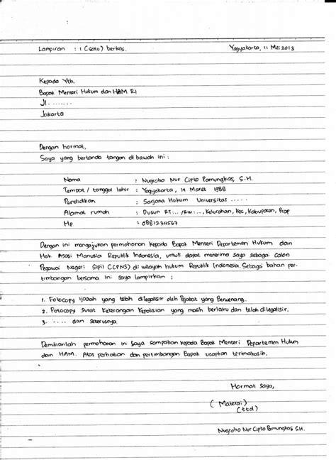 Contog Surat Lamaran Cpns Kemenristek by Contoh Lengkap Surat Lamaran Kerja Tulis Tangan Terbaru