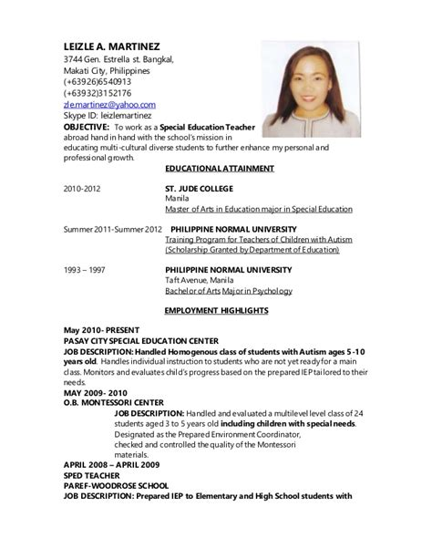 sle resume for elementary teachers in the philippines without experience resume updatedsped 2