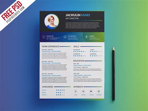 Free Creative Resume Template by Creative Resume Template Free Psd Psdfreebies