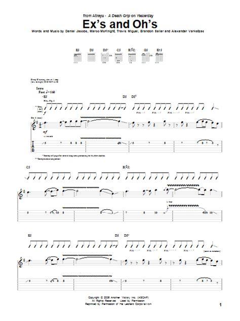 ex s oh s ex s and oh s guitar tab by atreyu guitar tab 57088