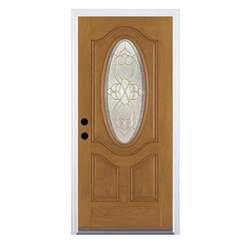 Therma Tru Exterior Doors Fiberglass Shop Therma Tru Benchmark Doors Willowbrook 2 Panel Insulating Oval Lite Right Inswing