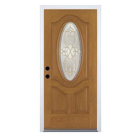 shop therma tru benchmark doors willowbrook right inswing medium oak stained fiberglass