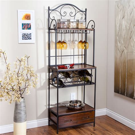 Metal Kitchen Cabinets Ikea by Sturdy Metal And Wood Bakers Rack With Wine Glass And