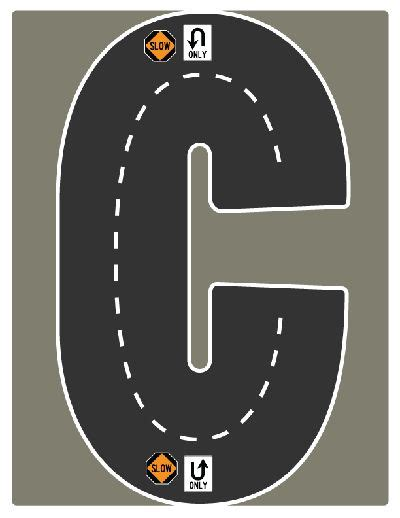 printable road letters drive the alphabet highway letter c road collection