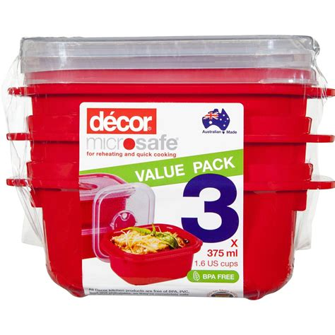 decor microsafe container oblong 375ml 3pk woolworths