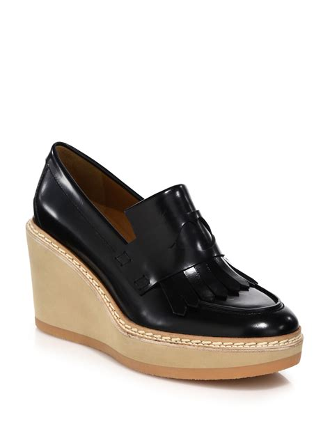 see by loafers see by chlo 233 brekka leather wedge loafers in black lyst