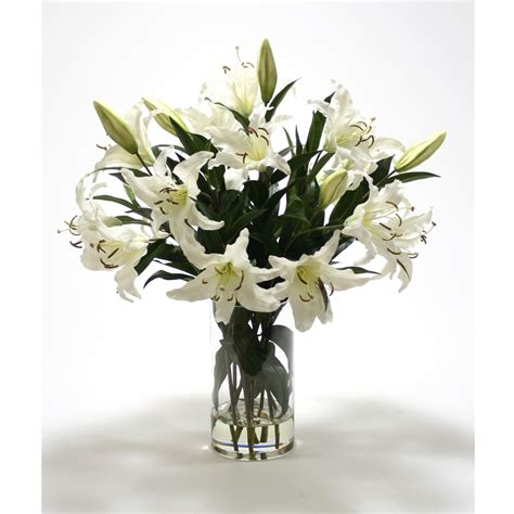 Artificial Lilies In Vase by Casablanca Lilies In Glass Vase Free Shipping In Usa