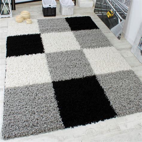 teppich grau schwarz shaggy teppich hochflor langflor gemustert in karo grau