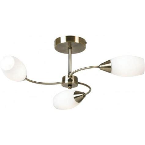 3 Way Light Fixture Thlc Modern Antique Brass 3 Way Semi Flush Ceiling Light Lighting From The Home Lighting Centre Uk