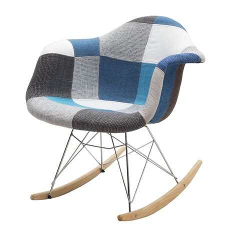 A Dondolo by Sedia Moderna A Dondolo In Tessuto Patchwork Blue Grey