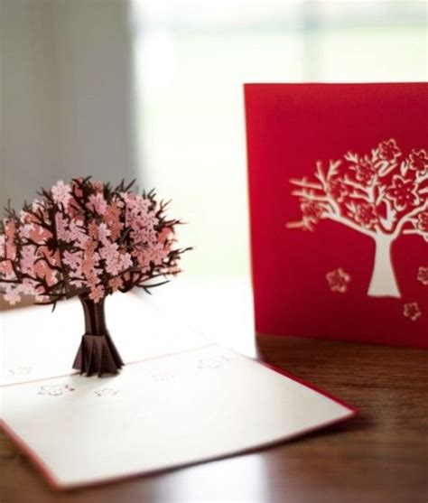 3d pop up card tree template them with flowers that pop up into out of