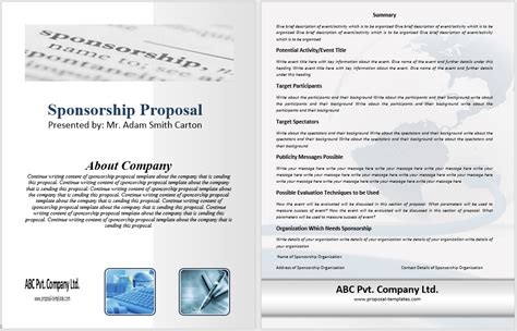 sponsorship proposal template 10 free sles word