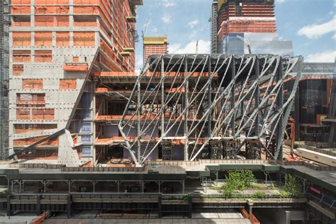 hudson yards center the shed wraps up steel
