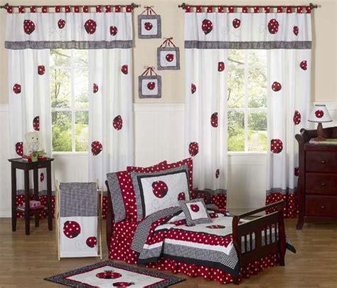 red  white polka dot ladybug toddler bedding  pc set