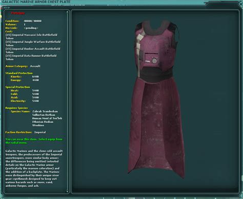 Swg Jedi Template by Galactic Marine Armor Chest Plate Swg Wiki Fandom