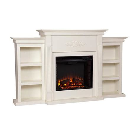 Tennyson Electric Fireplace With Bookcases Ivory