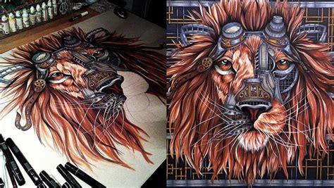 steampunk lion drawing  paula duta
