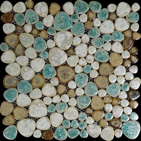 porcelain tile pebbles random bricks glazed ceramic mosaic backsplash