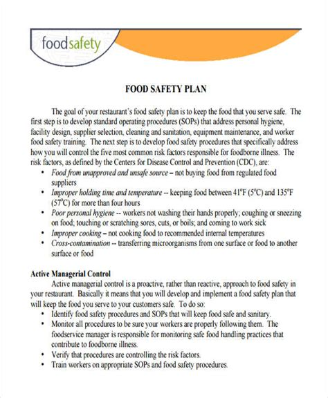 29 Safety Plan Sles Free Premium Templates Food Safety Plan Template