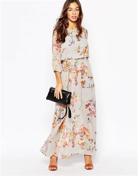 Floral 3 4 Sleeve Dress 3 4 sleeve floral maxi dress by vero moda grey multi