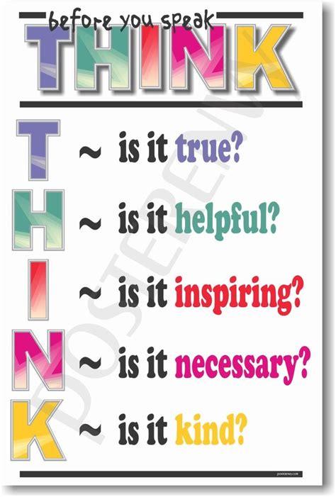 printable think poster think before you speak new school classroom student