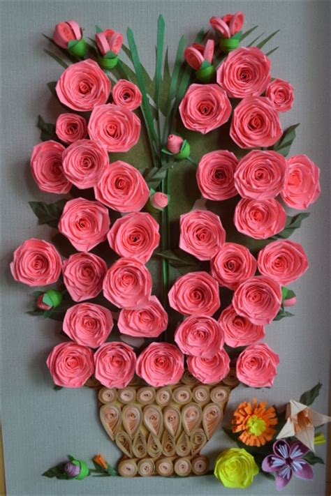 paper quilling rose wall art craft art ideas