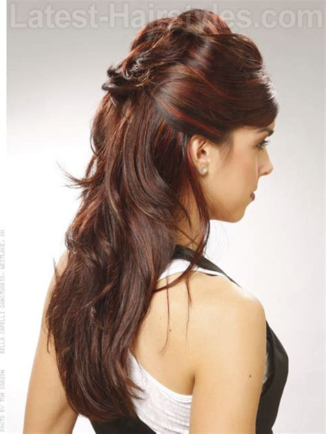 wrapped image of long hair wrapped up half up half down looks pinterest updo