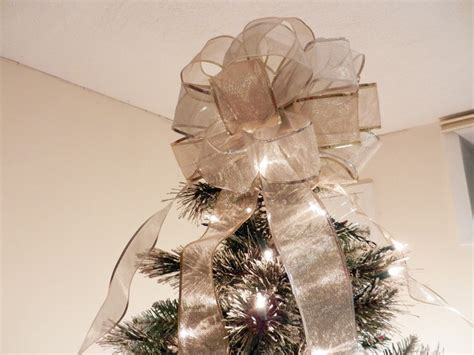 large sheer gold and silver ribbon christmas tree topper