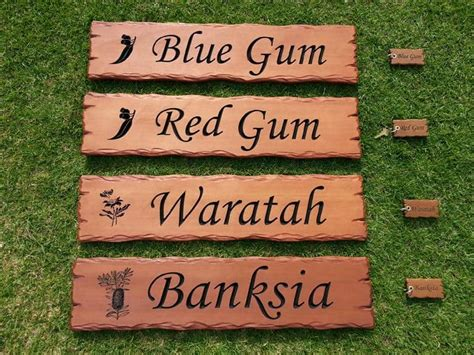 wooden signs engraved plaques rustic timber