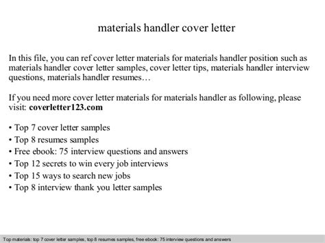 Material Handler Cover Letter by Materials Handler Cover Letter