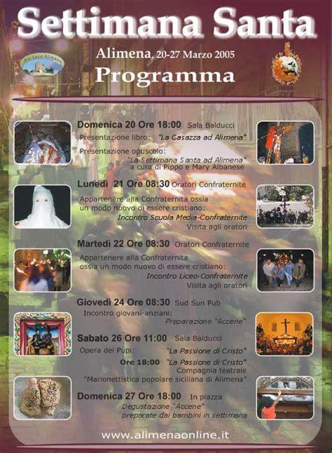pasqua ad alimena 2016 programma pasqua ad alimena 2005 programma della settimana santa
