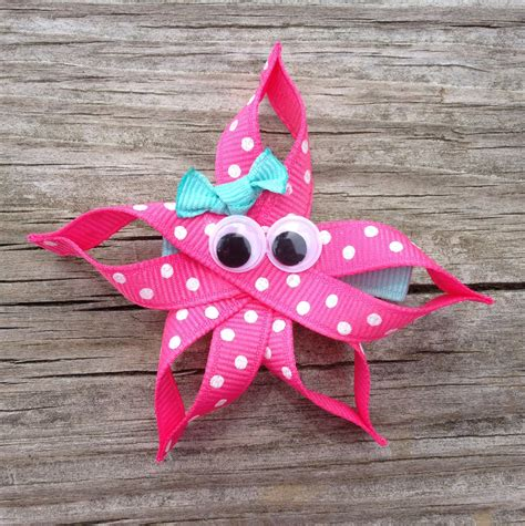how to make a cross hair bow sculpture pink starfish hair clip starfish ribbon sculpture hair clip