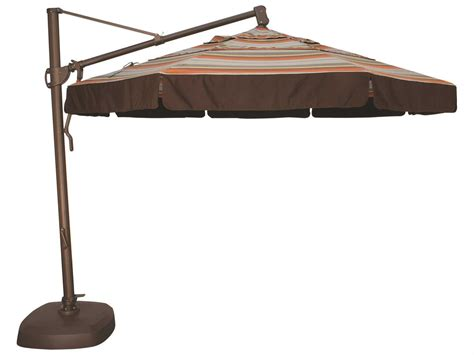 Treasure Garden Patio Umbrellas Treasure Garden Cantilever Aluminum 11 Foot Wide Crank Lift Tilt Lock Umbrella Akz