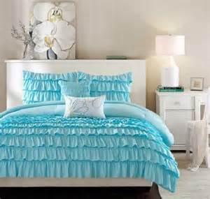Girls Ruffle Comforter Twin Twin Xl Girls Teen Blue Romantic Ruffled Ruffles