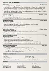 sle resume of a carpenter