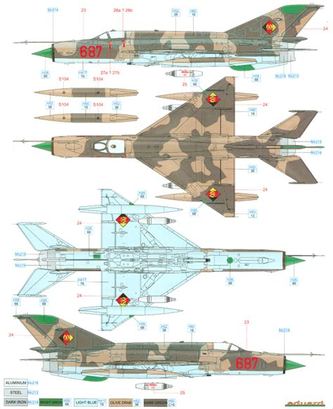 mikoyan mig 21mf fishbed j east german air color profile and paint guide
