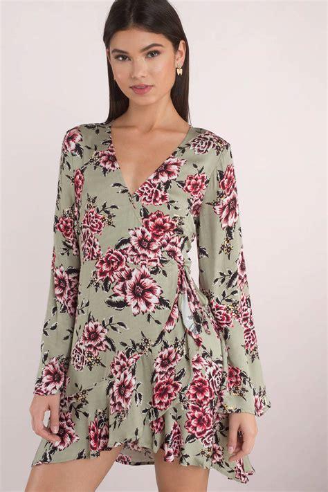 Id 1838 Flower Dress minkpink femme floral olive wrap dress 90 tobi us