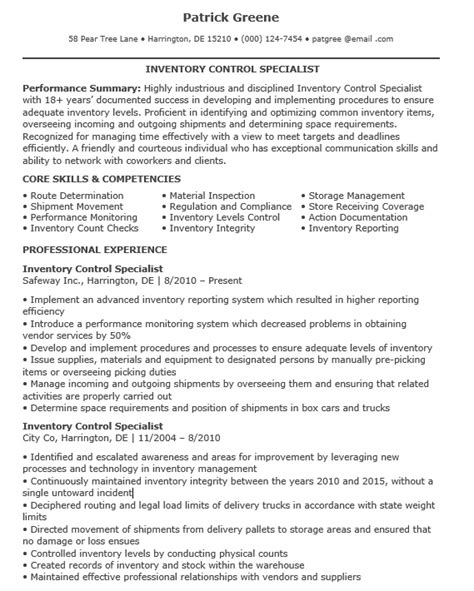 Inventory Specialist Resume by 16 Free Sle Inventory Specialist Resumes Best